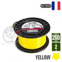 Fil débroussailleuse Orégon Etoilé Yellow jaune. 2 mm x 260 m. Bobine