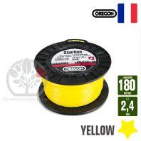 Fil débroussailleuse Orégon Etoilé Yellow jaune. 2,4 mm x 180 m. Bobine