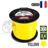Fil débroussailleuse Orégon Etoilé Yellow jaune. 2,4 mm x 360 m. Bobine