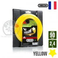 Fil débroussailleuse Orégon Etoilé Yellow jaune. 2,4 mm x 90 m. Bobine