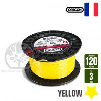 Fil débroussailleuse Orégon Etoilé Yellow jaune. 3 mm x 120 m. Bobine