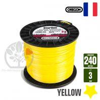 Fil débroussailleuse Orégon Etoilé Yellow jaune. 3 mm x 240 m. Bobine