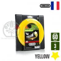 Fil débroussailleuse Orégon Etoilé Yellow jaune. 3 mm x 60 m. Bobine