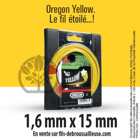 Fil débroussailleuse Orégon Etoilé Yellow jaune. 1,6 mm x 15 m. Coque