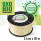 Fil oxo-biodégradable rond Natura Protect beige/vert 2,4 mm x 264 m. Bobine