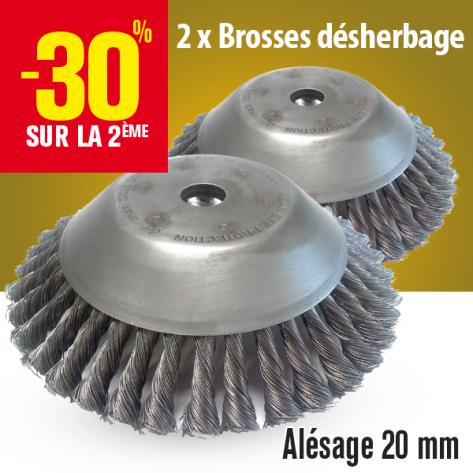 Brosse désherbage Master 360 pour débroussailleuse. Ø 230 mm. Al 20 mm. Par 2