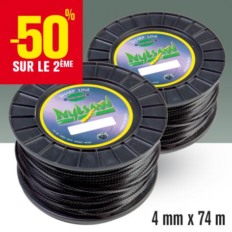 2 bobines fil débroussailleuse cranté Nylsaw noir. 4 mm x 74 m.