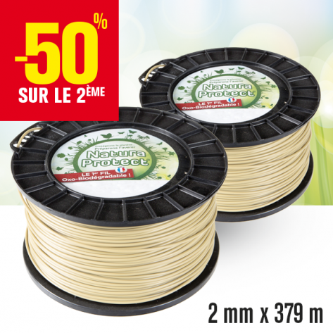 2 bobines fil oxo-biodégradable rond Natura Protect beige/vert 2 mm x 379 m.