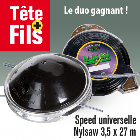 Tête débroussailleuse 2 fils Speed alu + fil Nylsaw cranté 3,5 x 27 mm