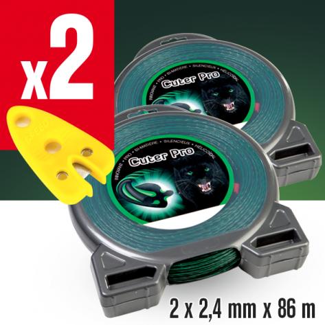 2 Fils débroussailleuse Hélicoidal Cuter' Pro noir/vert. 2,4 mm x 86 m. Coque. 2 coupe-fils offerts