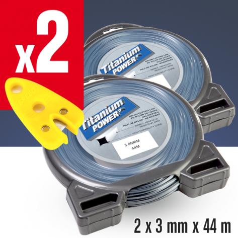2 Fils débroussailleuse carré Titanium gris. 3 mm x 44 m. Coque.  2 coupe-fils offerts
