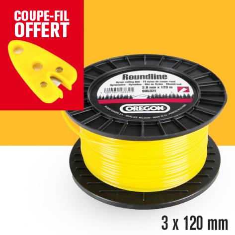 Fil débroussailleuse Orégon Rond Yellow jaune. 3 mm x 120 m. Bobine. Coupe-fil offert
