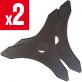 2 lames débroussailleuse 3 dents. Ø 255 mm. Al 25,4 mm. Ep 3 mm