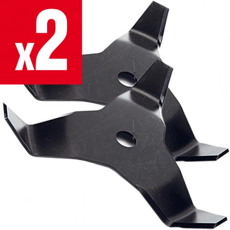 2 lames débroussailleuse 3 dents recourbées Ø 300 mm. Al 20 mm. Ep 4 mm.
